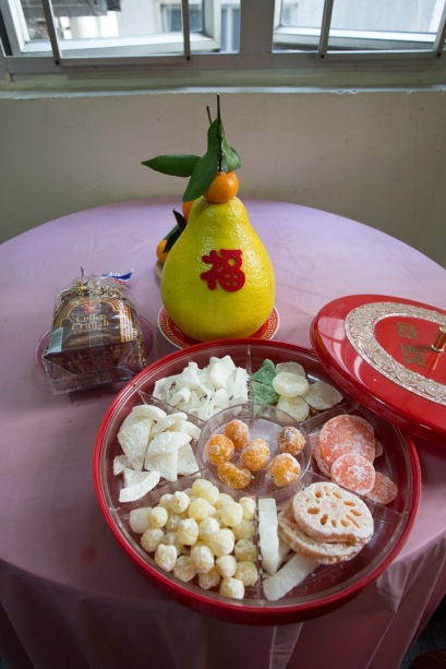 Traditional candy box: dried candied lotus seed, lotus, coconut, carrot, winter melon etc